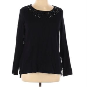Belldini Knit Sweater Black Sequin Long Sleeve